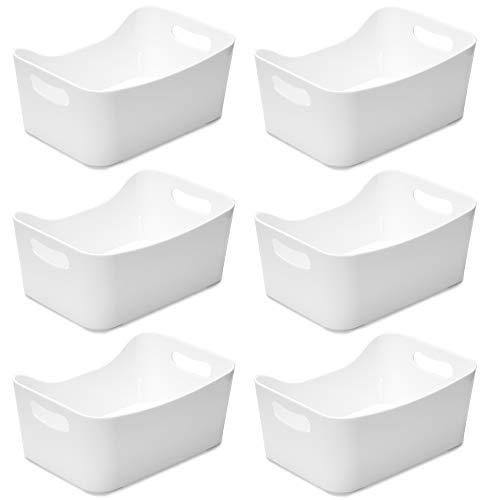 YBM HOME Aufbewahrungskorb für Küche, Speisekammer, Badezimmer, Waschküche, Gesundheits- und Schönheitsprodukte Small - 6 Pack weiß -