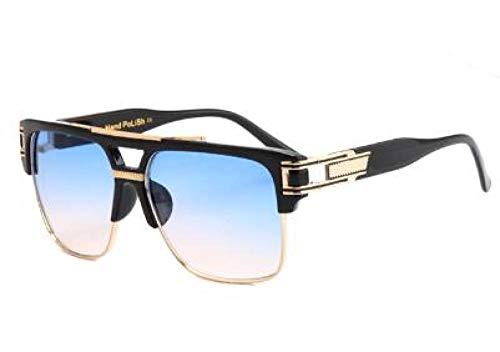 Kuletieas Hochwertige Herren Sonnenbrille 2019 große quadratische halb randlose Sonnenbrille Herren Luxus Unisex UV Sonnenbrille @ Ocean Blue Linse