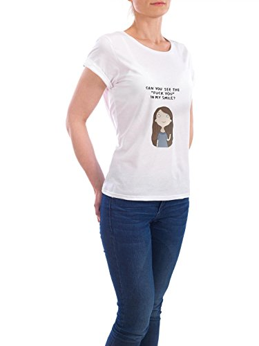 "Design T-Shirt Frauen Earth Positive ""fuck you"" - stylisches Shirt Comic von Lingvistov Weiß"