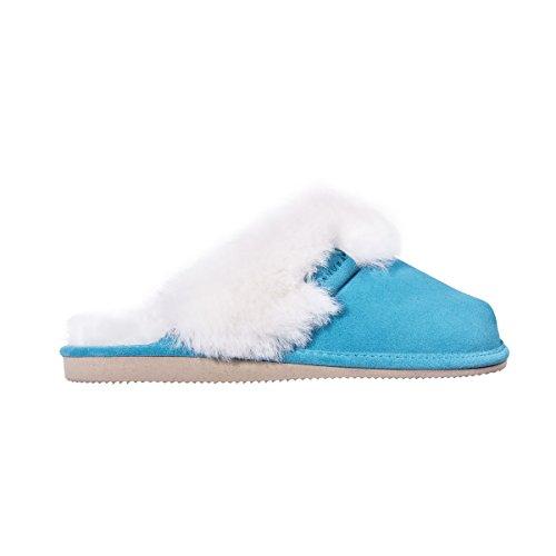 Vanuba cashmere - pantofole da donna artigianali, in pelle naturale, lana di pecora al 100%, scarpe da casa calde e confortevoli (37 eu, turchese (turquoise) / bianco (white))