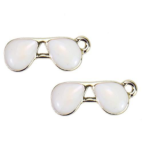 Monrocco 20 weiße Sonnenbrillen Charms Brillen Charms für Schmuckherstellung Anhänger Schlüsselanhänger, Telefonstecker, 18 x 7 mm