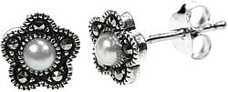 Sterling Silver 925 and Marcasite with Freshwater Pearl Flower Stud Earrings