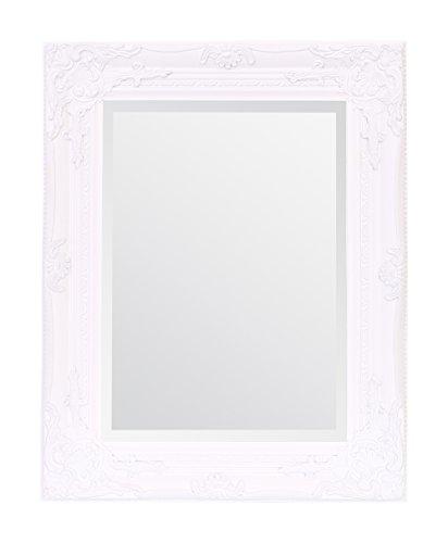 Select Mirrors Rhone - Espejo de estilo barroco antiguo, diseño vintage francés, 42 cm x 53 cm, decoración elegante para el hogar, blanco mate, 42cm x 53cm