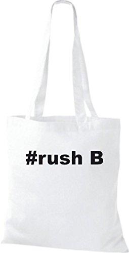 Shirtstown Stoffbeutel Hashtag #rush B weiss