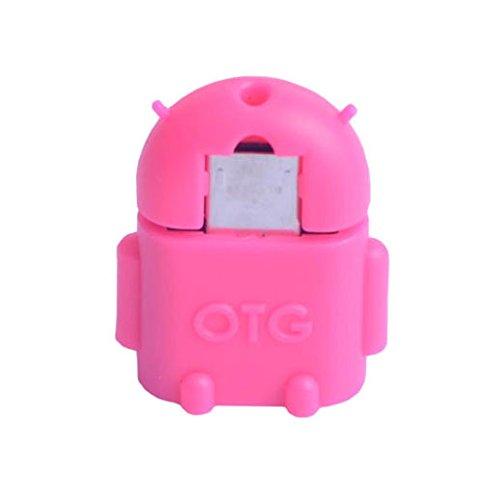 KRS A1 Pink - USB OTG Robot - otg Adapter Micro-USB-Stecker Typ B / USB-Kupplung Buchse Typ A OTG Android Roboter Robot -USB Adapter für Huawei Ascend Mate Mate 2 P6 P6S Samsung Galaxy S2 I9100 I9105P S3 I9300 I9305 Note N7000 Sony Xperia Z1 L39h Z1f Honami Mini Compact ZL L35i Tablet Z (Pink)