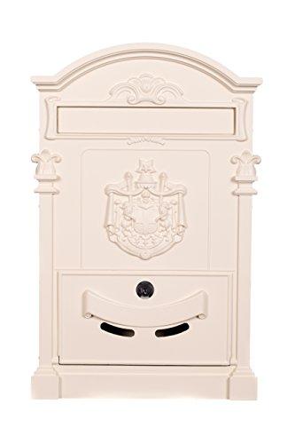 Antiker großer und sehr edler Briefkasten LB-001-Long Cremeweiss Wandbriefkasten, Briefkasten, Nostalgischer Englischer Briefkasten Metall 47 cm hoch Befestigungsmaterial mit 2 Schlüsseln