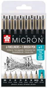 SAKURA Fineliner PIGMA MICRON, 8er Etui, schwarz (Pen Micron Pigma Sakura)