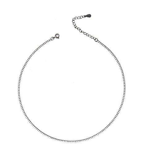 Collana da donna in argento sterling e zirconia cubica regolabile tennis girocollo 37.5cm
