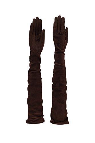 La plus grande gamme au monde des gants trés longs en cuir véritable - Doublure en soie - 30 nuances de couleurs - cm 80 MARRON CHAMOIS