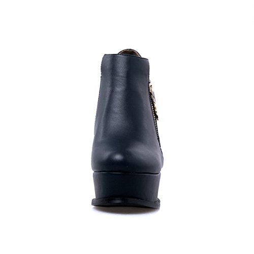 AgooLar Damen Reißverschluss Pu Leder Hoher Absatz Reißverschluss Rund Zehe Stiefel Blau