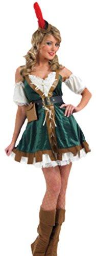 Karnevalsbud - Damen Robin Hood Girl Kostüm , L, Mehrfarbig (Robin Hood Girl Kostüme)
