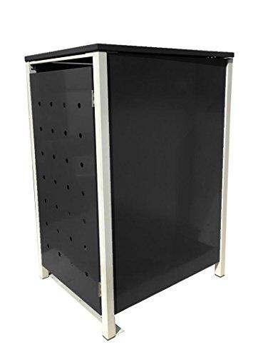BBT@ | Hochwertige Mülltonnenbox für 3 Tonnen je 240 Liter mit Klappdeckel in Schwarz / Aus stabilem pulver-beschichtetem Metall / Ohne Stanzung / In verschiedenen Farben sowie mit unterschiedlichen Blech-Stanzungen erhältlich / Mülltonnenverkleidung Müllboxen Müllcontainer - 4