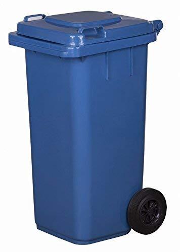 falltonne Reststofftonne 120L laufruhige Vollgummi-Räder NEU (blau) ()