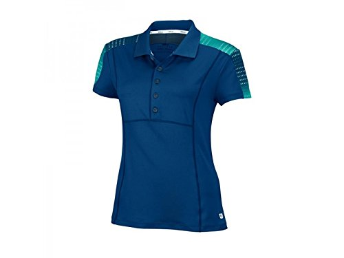 Wilson, Polo da tennis Donna, Blu (Pacific Teal), M