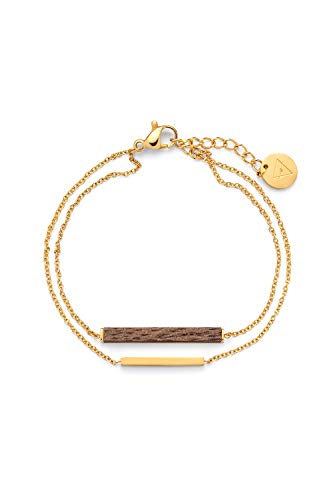 KERBHOLZ Holzschmuck - Geometrics Collection Rectangle Bracelet, filigranes Frauen Armband in gold mit Stab Anhänger aus Naturholz, größenverstellbar (Armbandlänge 15 + 2,5 cm)