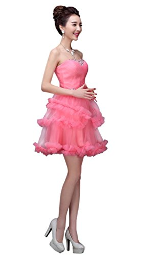 drasawee Trägerlos Ballkleid Kurz Abend Ball Party Kleid Junior Homecoming Kleid Rosa - Korallenrot