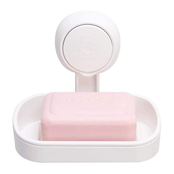 Aseem Plastic Drill-Free; Removable Soap Dish with Powerful Strong Suction Holder for Shower; Bathroom; Tub and Kitchen Sink (Small; White)