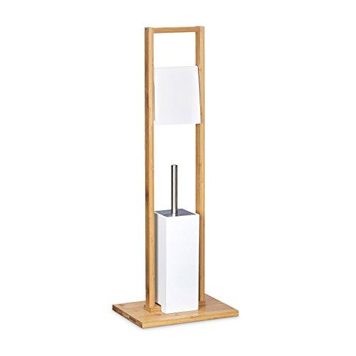 Relaxdays Stand WC Garnitur Bambus HBT 82 x 30,5 x 21 cm Toilettenbürstenhalter aus Holz mit Toilettenpapierhalter und Klobürste als Klorollenhalter freistehend WC Bürstengarnitur, natur weiß
