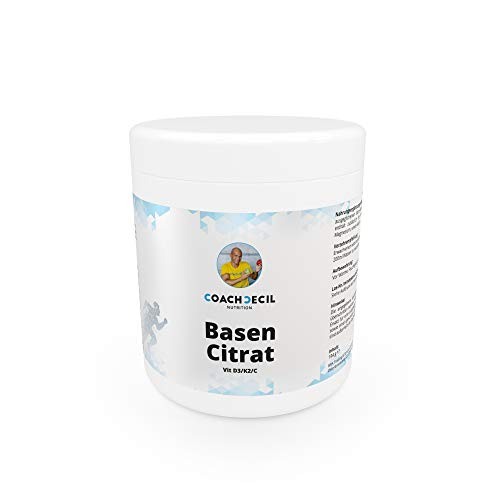Coach Cecil Basencitrat - (Made in Germany Multivitamin Basenpulver mit Vitamin D, C, K2, Magnesium, Calcium, Kalium & Camu Camu-Extrakt; Inhalt für 30 Tage in der Geschmacksrichtung Wassermelone) -