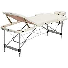 Mari Lifestyle de la serie profesional Vienna - Crema Camilla Mesa de masaje portátil de 3 secciones de aluminio ultra ligero con bolsa de transporte