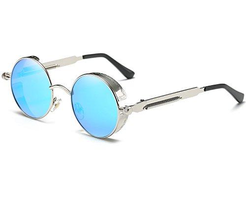 Runde Steampunk Polarisierte Sonnenbrille Metall Rand Rahmen Flip up Linse für Herren Damen UV400 (B/Silber/Blau, Polarisiert)