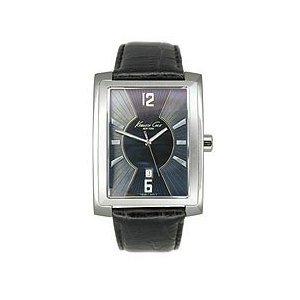 Kenneth Cole Gents Stainless Steel Water Resistant Black Leather Watch KS1007