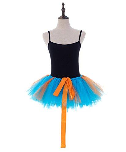 URVIP Damen's Retro Rockabilly Swing Petticoat Ballett Tutu Unterrock in Verschiedenen Farben One Size Blau und Orange