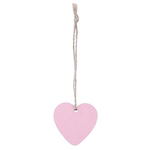 Mikolot 10 Stück Herz-Dekorationen, Mini-Herz-Anhänger aus Holz, Ornamente für Weihnachtsbaum, Hängeanhänger, Rose -