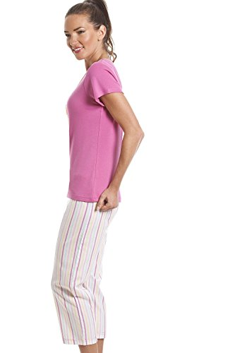 Camille - Pigiama a due pezzi con pantaloni capri e stampa paperetta Rosa