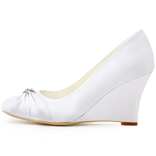 Elegantpark EP2005 bout Rond Crinkling Satin Boucle Coin Bas Femmes Chaussures de Mariee Blanc