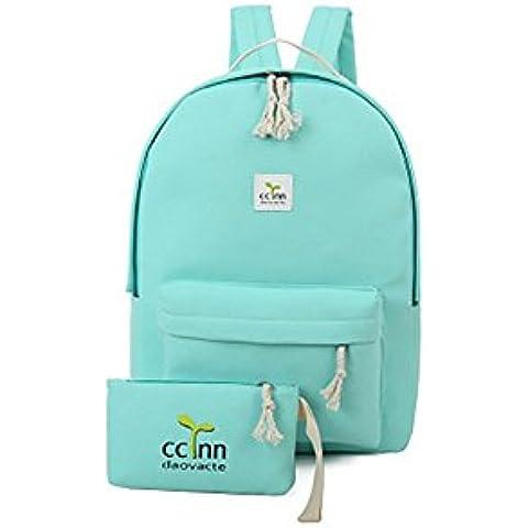 Mochila Color sólido Paquete simple Bolso de los hombros Bolso de color de caramelo Estudiantes de la escuela secundaria Mochila azul cielo 30X12X42CM/11.81X4.72X16.3