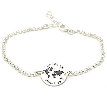 Silberarmband mit Gravur Weltkarte Echt Silber 925 Geschenk Reise Globus Silberschmuck GONAS31