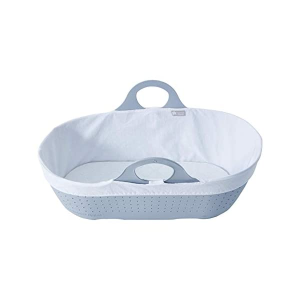 Tommee Tippee Sleepee Baby Moses Basket Grey Tommee Tippee Safe, modern, portable baby moses basket, perfect to keep your newborn baby nearby as they sleep, day or night. your sleepee moses basket comes complete with mattress and liner Easy to clean, the sleepee moses basket can be cleaned with warm soapy water. the water-resistant mattress cover is wipe clean and machine washable. the 100 % cotton liner is machine washable. Supported by safe sleep experts the lullaby trust, the sleepee moses basket has over 300 airholes along the side and base allowing max airflow to help regulate baby temperature and allow breathability 7