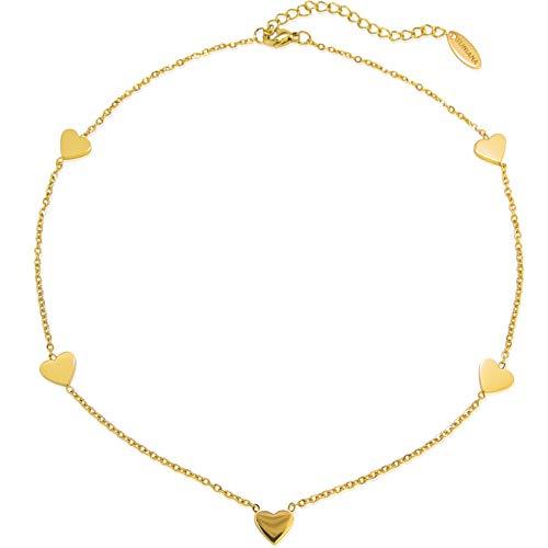 SUNIANA® - Choker Halskette ♥Herz Anhänger♥ mit 5 filigranen Herzen | Vergoldet | Edelstahl| Damen Kette in Rosegold, Silber oder Gold (Gold)