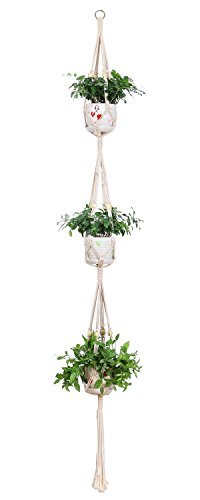 JBSON Pflanze Kleiderbügel, Makramee 3Etagen Blumentopf Aufhänger für Blumenampel Halterung Flower Pot Indoor Outdoor Decor mit - Makramee-pot-kleiderbügel