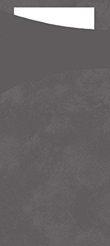 (Duni 156950Sacchetto Besteck Taschen mit gefaltet Tissue Servietten Innen, 8,5cm x 19cm, granit grau Sacchetto und weiß Serviette (500Stück))