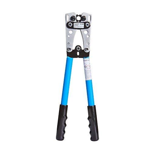 toprema Draht Terminal Crimpzange Kabel Lug-Crimper Elektriker Anschluss Hand Zange 6-50mm² (10, 8, 6, 4, 2, 1/0AWG Einstellungen) -