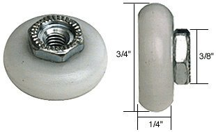 3/4 Oval Edge Nylon B.B. Sliding Shower Door Roller; Threaded Hex Hub - Package by C.R. Laurence -