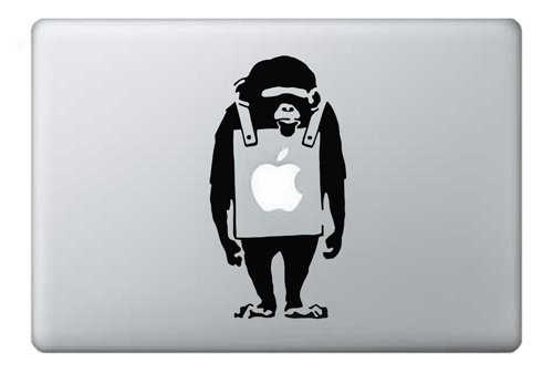 Banksy Monkey Macbook Air 11 13, Macbook 13, 15, 17 inch decal sticker (Aufkleber) art for Apple Laptop