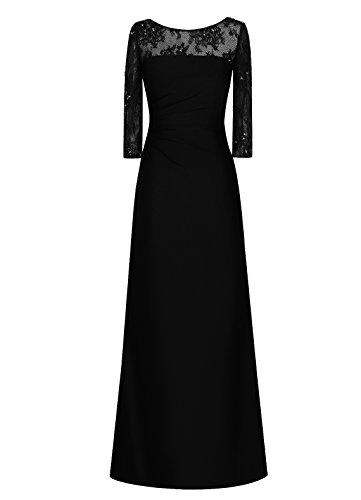Dresstells, Robe longue de demoiselle d'honneur Robe de soirée Robe de cérémonie Tenue de mariage Noir