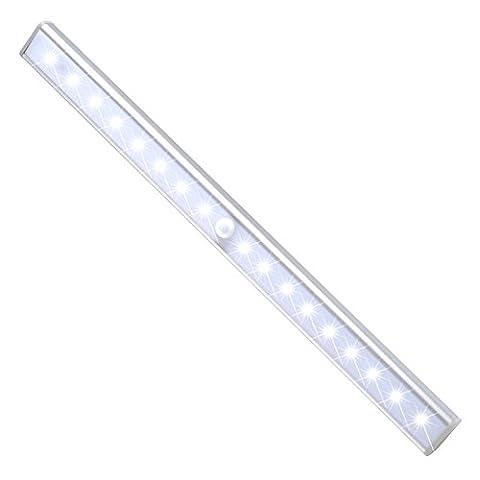 JESWELL 24 LED Schrankbeleuchtung mit Bewegungsmelder Wiederaufladbare, 3 Licht Modus, einem 3M Magnetstreifen installieren, Nachtlicht für den Schrank oder die Schublade, Treppen, Schlafzimmer, Küche (Weiß)