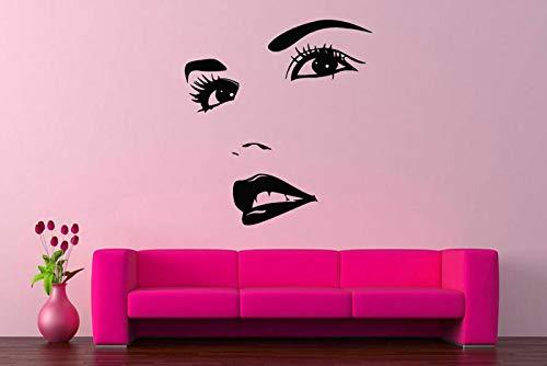 Gesicht Himbeere (Vinyl aufkleber applikation wandbild zimmer design mode frau gesicht schöne mädchen raumdekor applikation wohnzimmer dekoration 57 * 62 cm)
