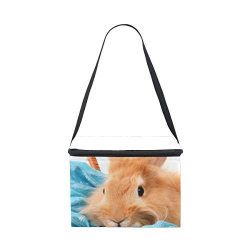 Bolsa de almuerzo con conejo en cesta con bufanda de color azul...