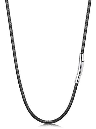 sailimue Collar Cuero para Hombre Mujer Cuerda Trenzado Collar con Cierre Acero Inoxidable Cordón 41cm, 3 mm Amplio