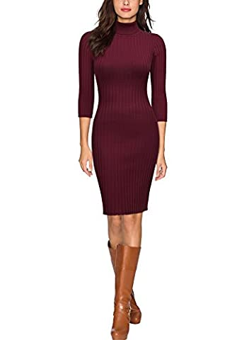 Miusol Damen 3/4 Aermel Wollkleid hoher Kragen Figurbetontes Strickkleid Pullover Kleid Weinrot Gr.36/38/S