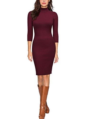 Miusol Damen 3/4 Aermel Wollkleid hoher Kragen Figurbetontes Strickkleid Pullover Kleid Weinrot Gr.46/48/L