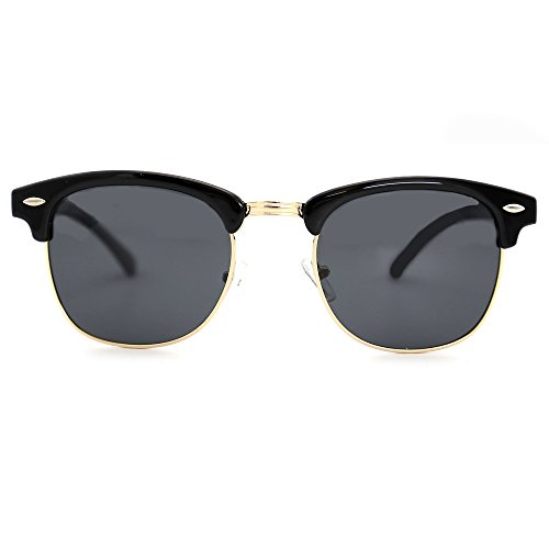 Natuwe&Co Klassische Halbrahmen polarisierte halb randlose Sonnenbrille Frauen Männer Retro Sonnenbrille (Schwarz)