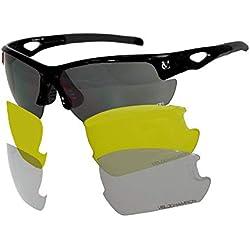 VeloChampion Lunettes de Soleil Tornado - Bike avec 3 Paires de lentilles interchangeables (Black)