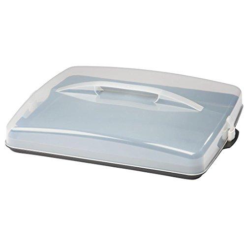 Xavax Blechkuchen-Transportbox rechteckig (BTH 43x34x6cm, transparenter Deckel mit Griff, zur Aufbewahrung von Kuchen, Häppchen, Kuchenbox spülmaschinengeeignet) Kuchenbehälter anthrazit