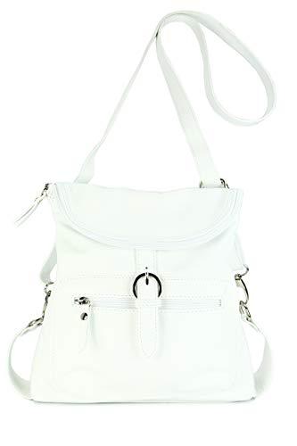 Belli ital. Echt Leder Rucksack Backpack London Handtasche Umhängetasche Rucksacktasche weiß - 28x26x10 cm (B x H x T)